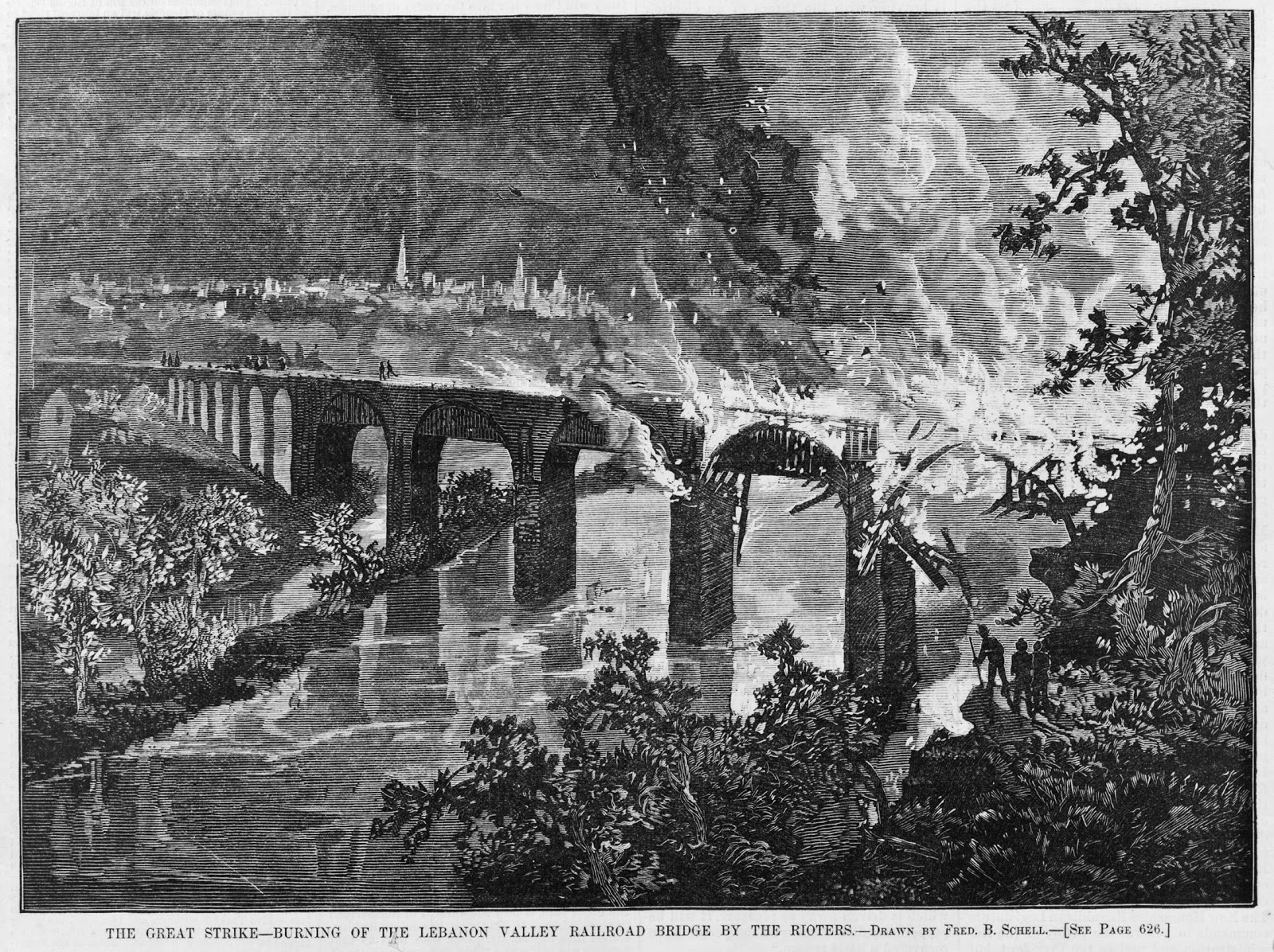 Harper's Weekly, Riot of 1877 Lebanon Valley railroad bridge, marked as public domain, more details on Wikimedia Commons | Burning During the Great Railroad Strike of 1877
