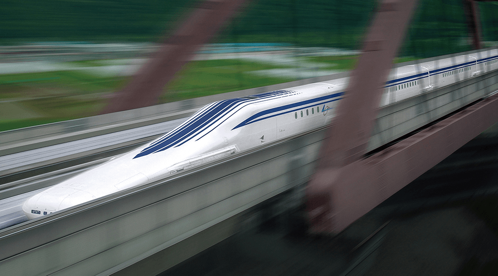 Photographic rendering of the SCMAGLEV Chuo Shinkansen, the worlds fastest maglev train