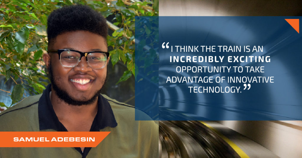 Photo of Sam Adebesin with quote