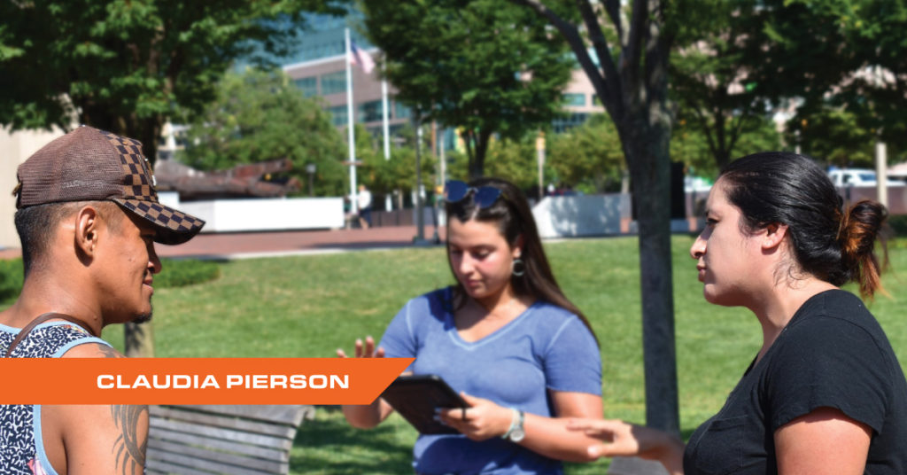 Photograph of Northeast Maglev 2019 Summer Intern Claudia Pierson at Baltimore's Inner Harbor