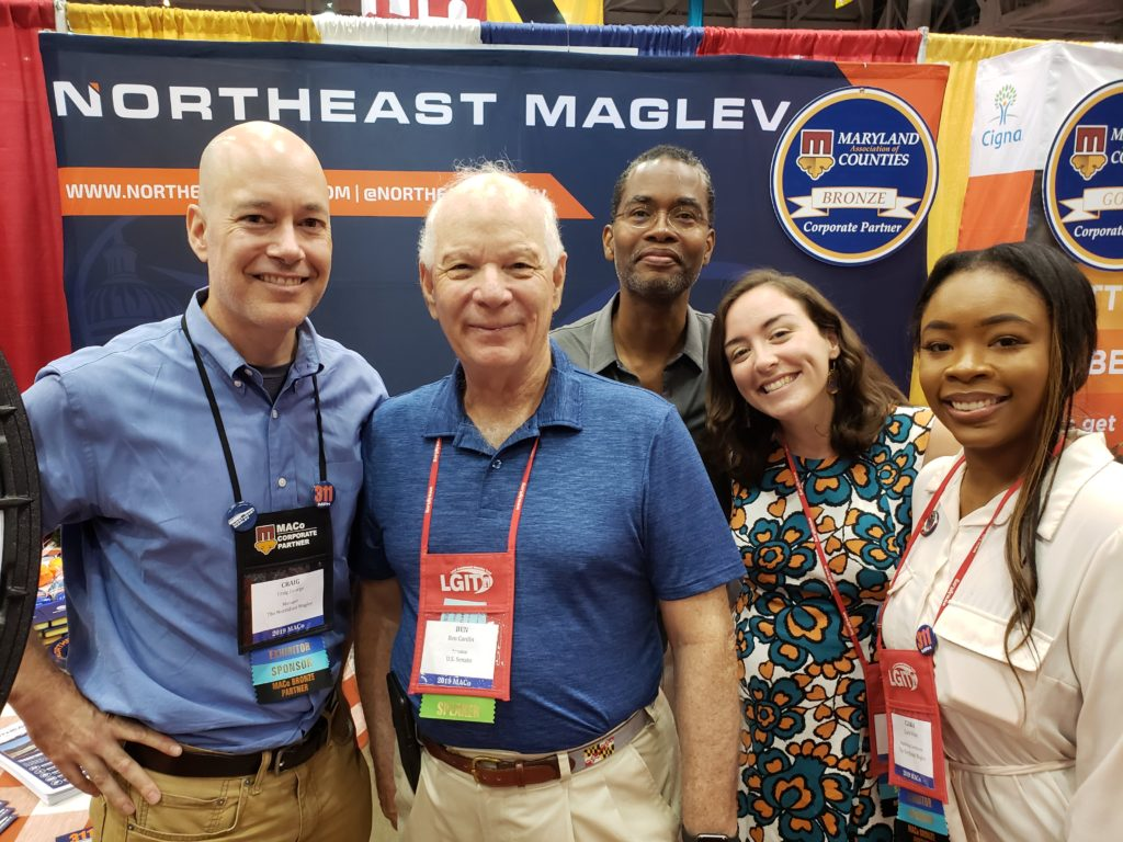 US Senator Ben Cardin visits the Northeast Maglev booth at 2019 MACo