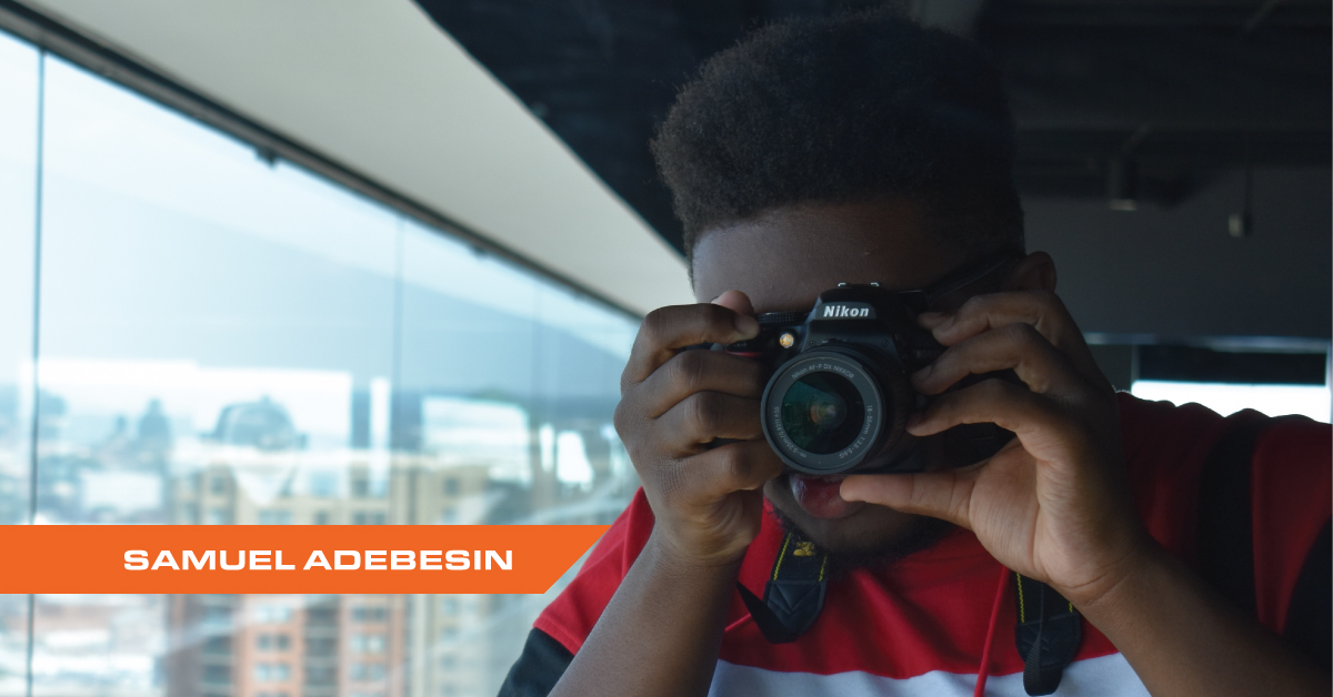 Photograph of Northeast Maglev 2019 Summer Intern Sam Adebesin at Baltimore's World Trade Center