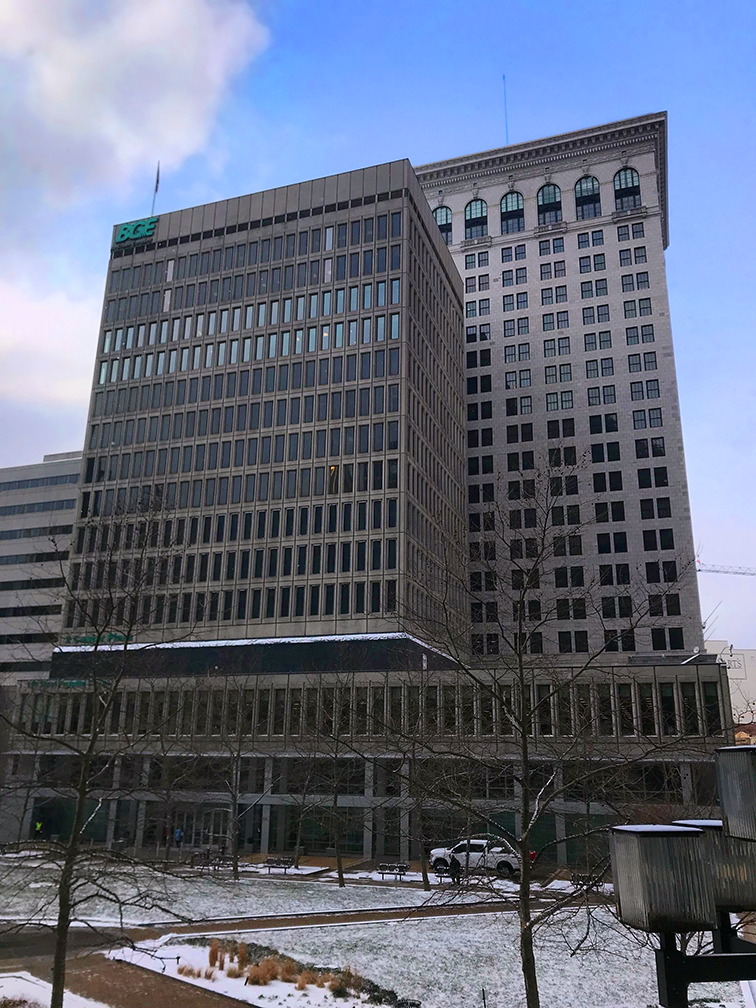 Low vantage point photo of tall Baltimore Gas and Electric Copmany building in Baltimore, Maryland