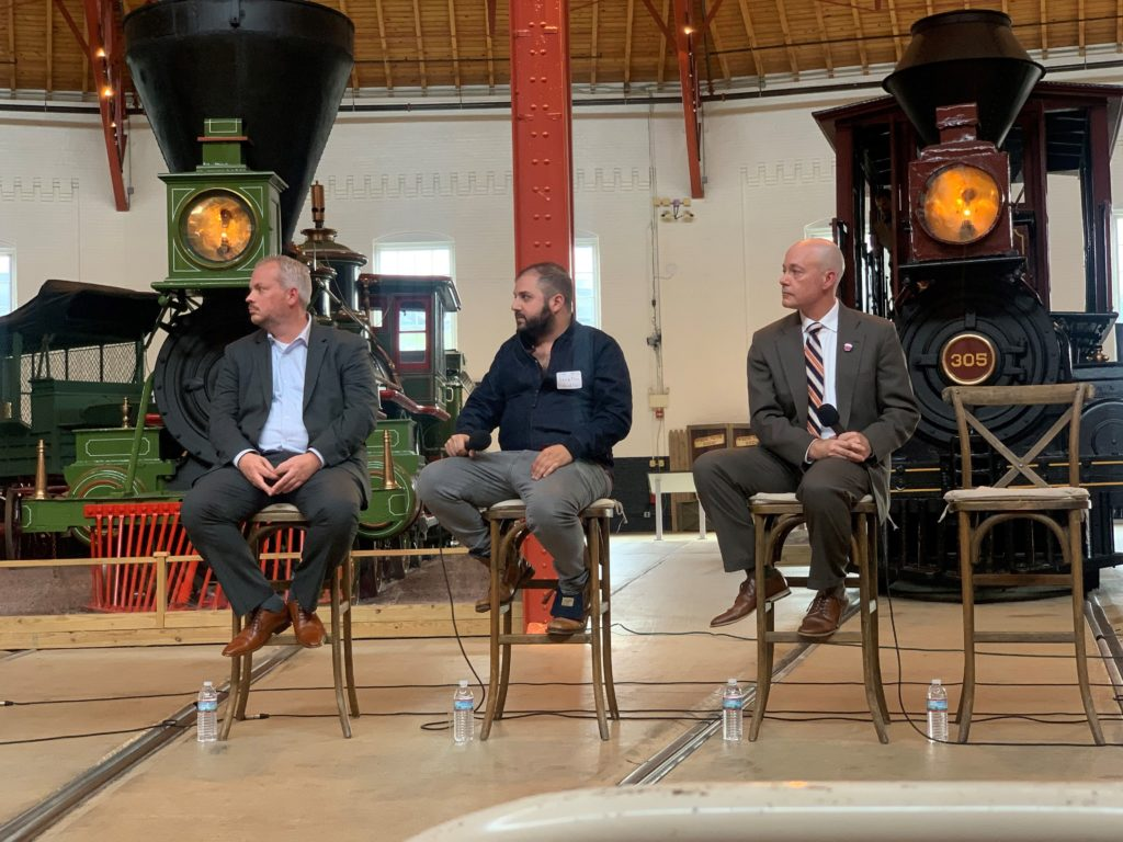 Northeast Maglev attending discussion panel at B&O Railroad Museum roundhouse building