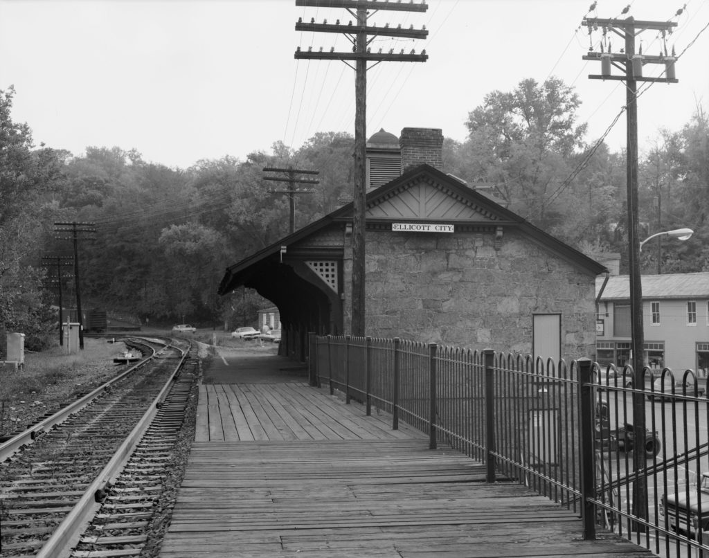 Black and white photo of B&O Railroad train stop in Ellicott City, Maryland, 1970