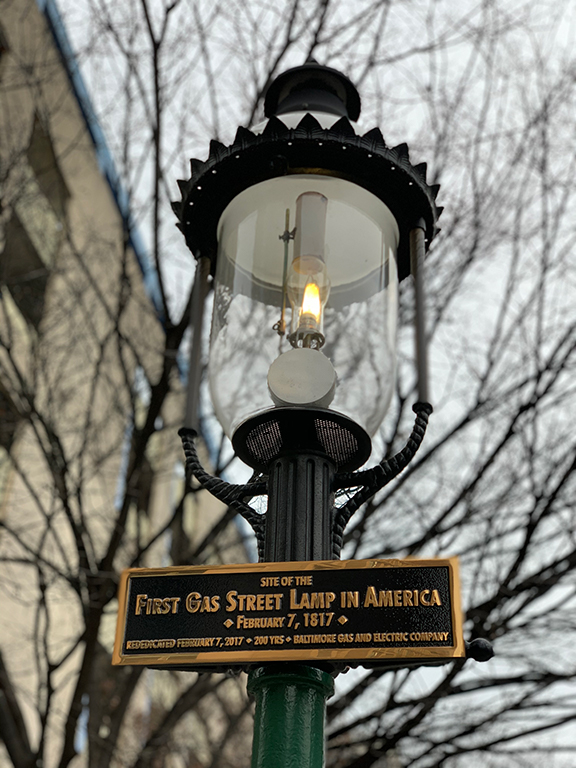 Up close photograph of America's first gas street lamp in Baltimore, Maryland