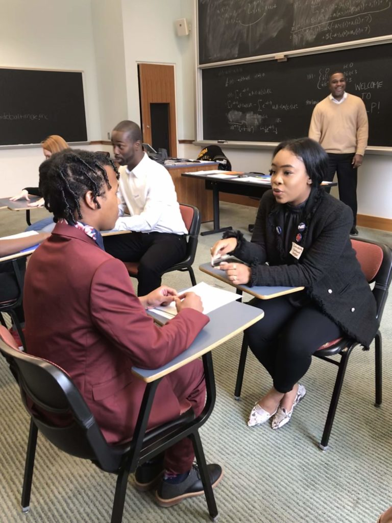 Northeast Maglev Marketing & Communications Coordinator speaks with Greater Baltimore Urban League's Saturday Leadership Program attendee