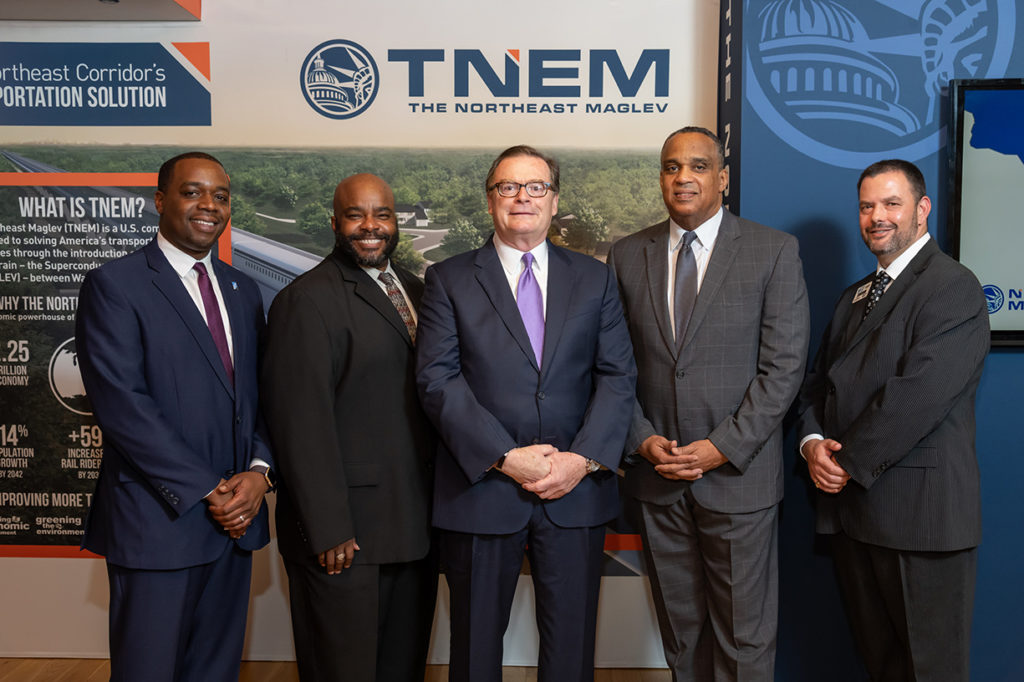 Northeast Maglev CEO Wayne Rogers poses with Baltimore area Chambers of Commerce leaders