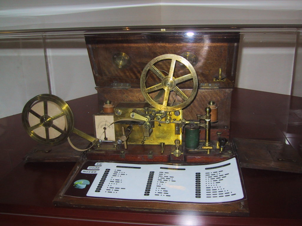 Color photo of the Morse Telegraph and Morse Code sheet