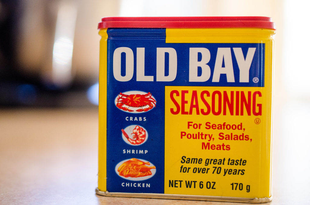 Rectangular metal tin of iconic food seasoning Old Bay