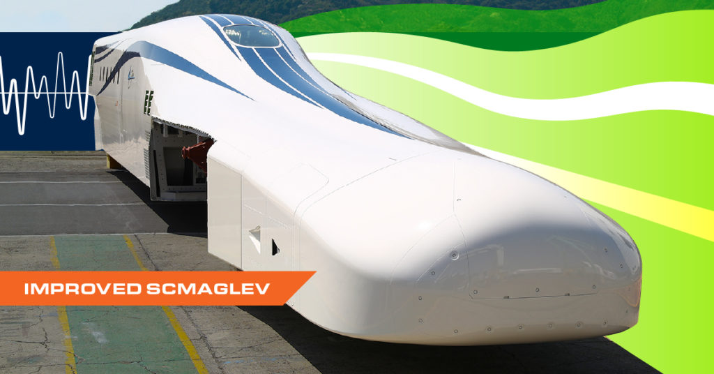 Stylized photograph of the improved SCMAGLEV train