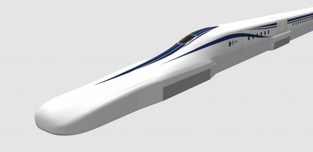 Computer rendering of the improved SCMAGLEV train