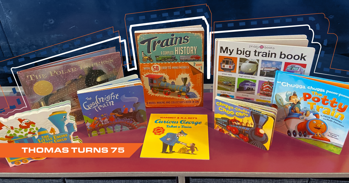 Photograph of children's books donated to B&O Railroad Museum for Thomas the Tank Engine's 75th Birthday