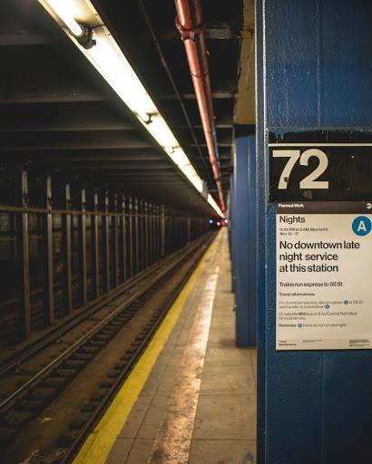 Photograph of an empty subway platform - 72 street station