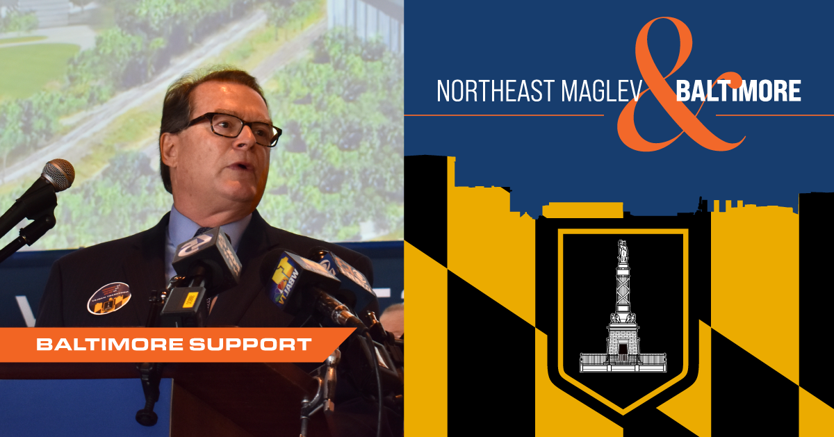 Photograph of Northeast Maglev CEO, Wayne Rogers speaking at a press conference announcing project support in Baltimore