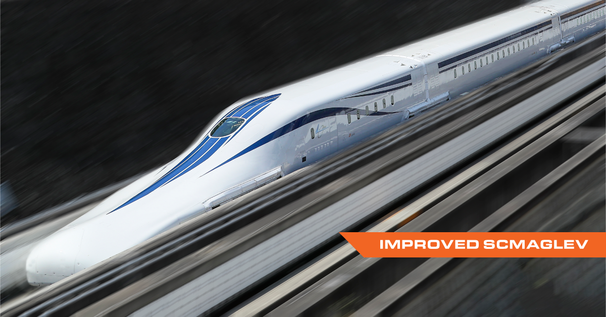 Photograph of the newly improved L0 SCMAGLEV train running tests in Japan