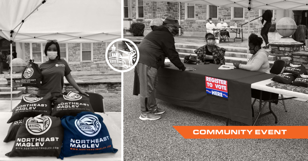 Photograph collage of Northeast Maglev employees distributing facemasks at a voter registration event in Baltimore