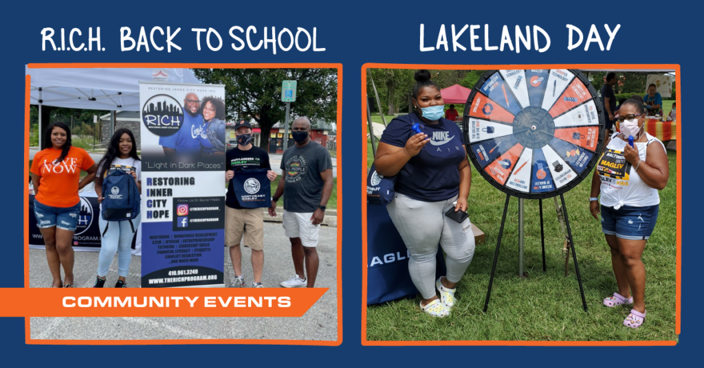 Photo compilation of Northeast Maglev employees attending the 2021 Lakeland Day and RICH Back to School Events in Baltimore
