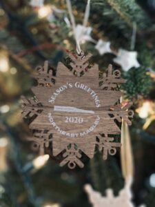 Photograph of the 2020 holiday ornament giveaway from Northeast Maglev