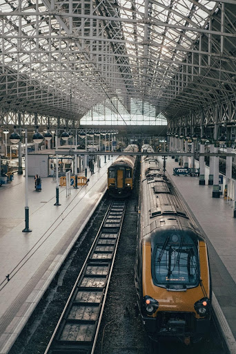 Photograph of an empty train station