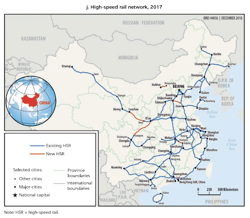 Map of China's High Speed Rail Network in 2017