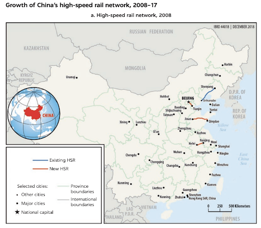Map of China's High Speed Rail Network in 2008